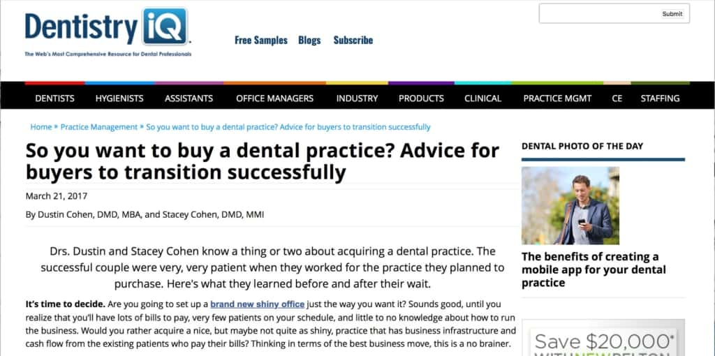 Dentistry IQ article
